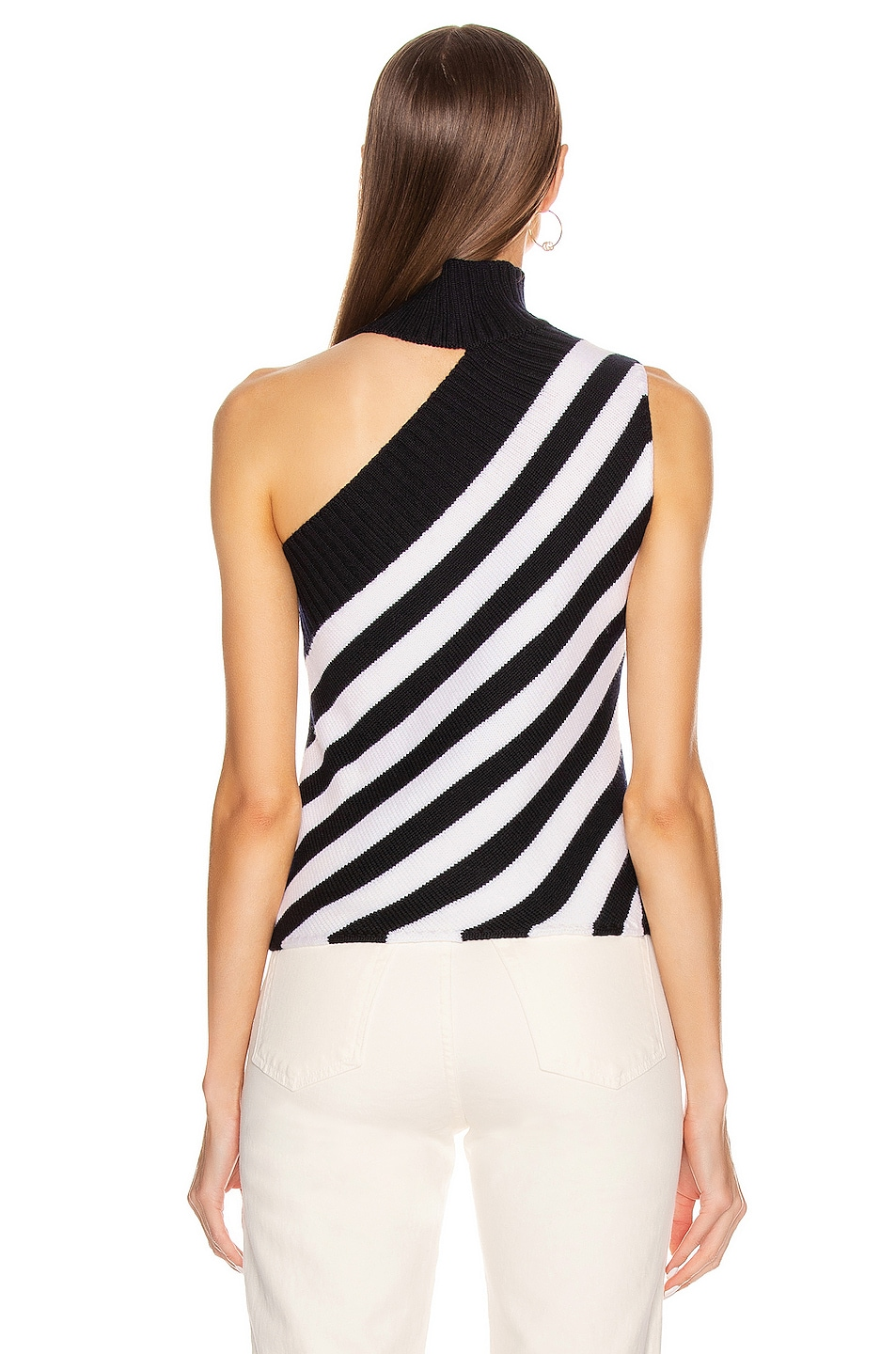 Image 4 of Monse One Shoulder Striped Turtleneck Sweater in Midnight & Ivory