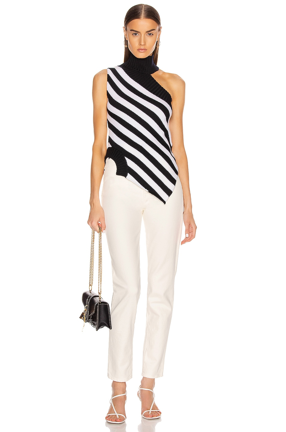 Image 5 of Monse One Shoulder Striped Turtleneck Sweater in Midnight & Ivory