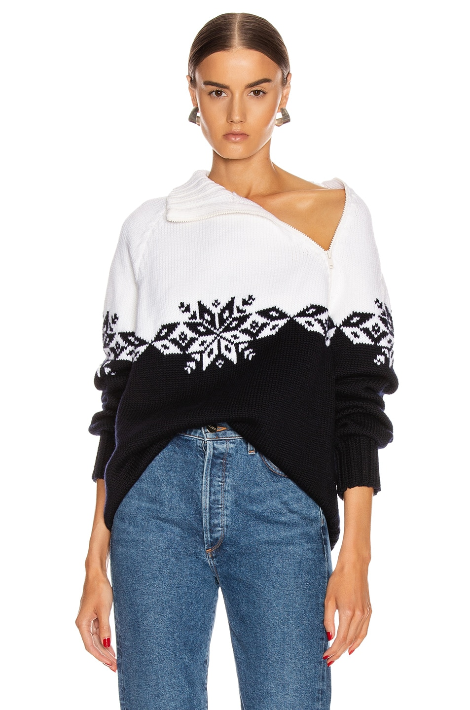 Image 1 of Monse Snowflake Zip Turtleneck Sweater in Midnight & Ivory