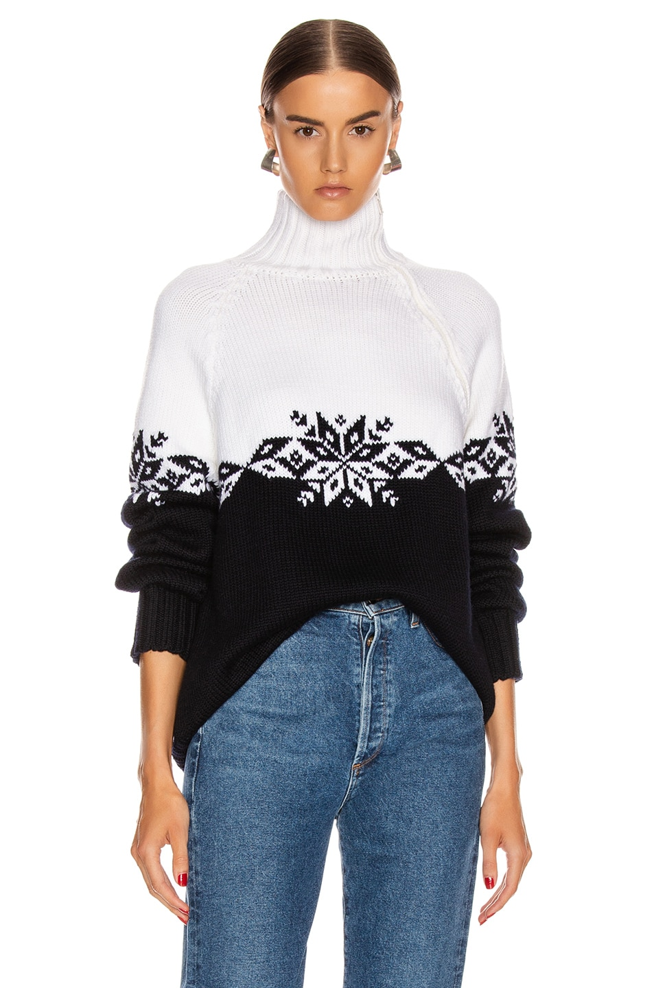 Image 2 of Monse Snowflake Zip Turtleneck Sweater in Midnight & Ivory