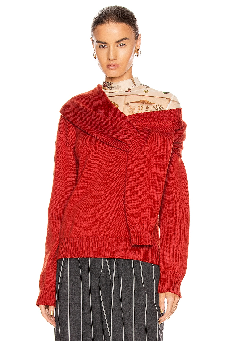 Image 1 of Monse Tie Neck Cold Shoulder Sweater in Terracotta