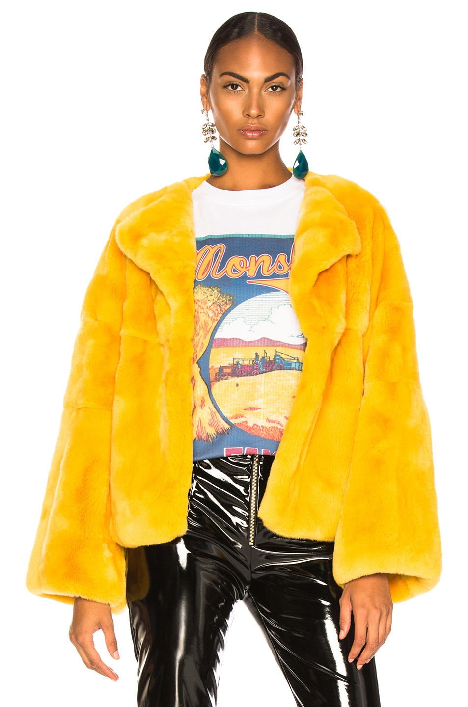 Image 1 of Monse Rex Rabbit Fur Jacket in Mustard