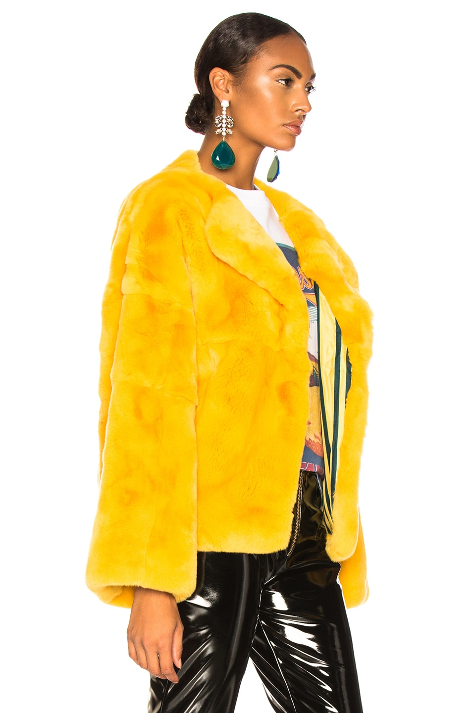 Image 3 of Monse Rex Rabbit Fur Jacket in Mustard