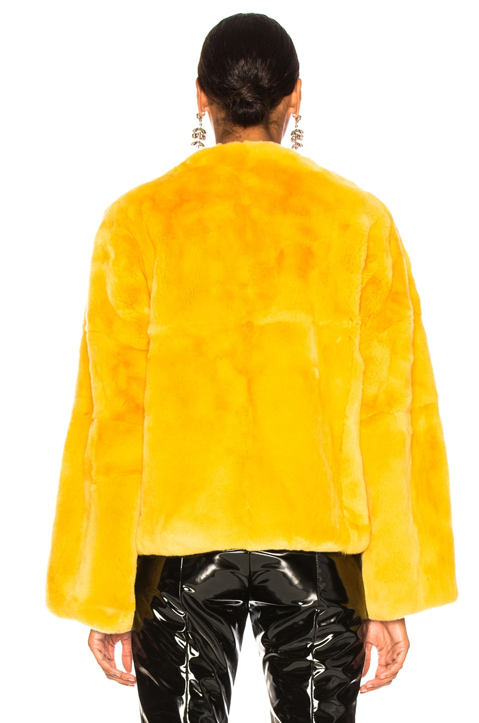 Image 4 of Monse Rex Rabbit Fur Jacket in Mustard