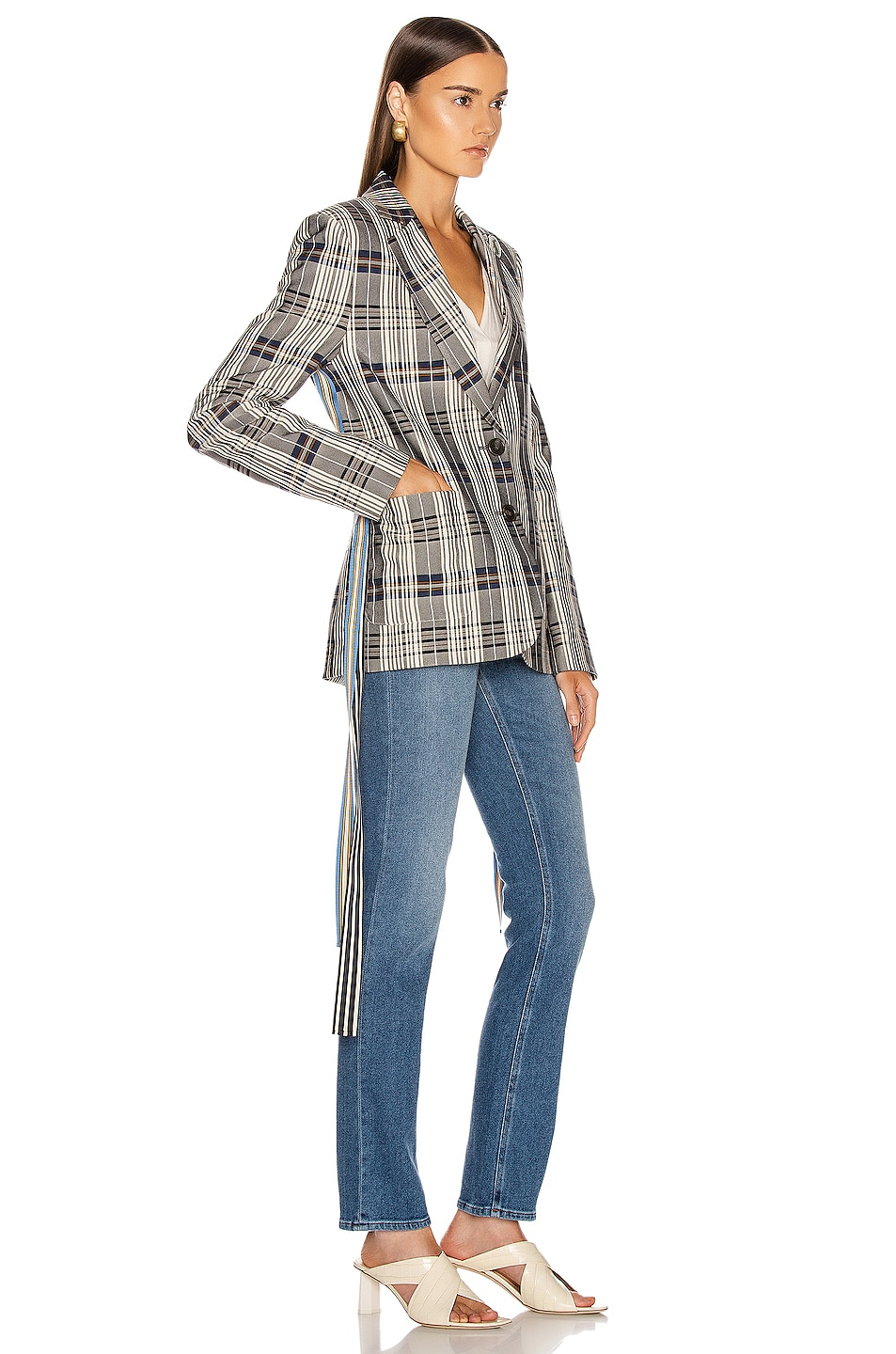 Image 3 of Monse Grosgrain Jacket in Vintage Plaid