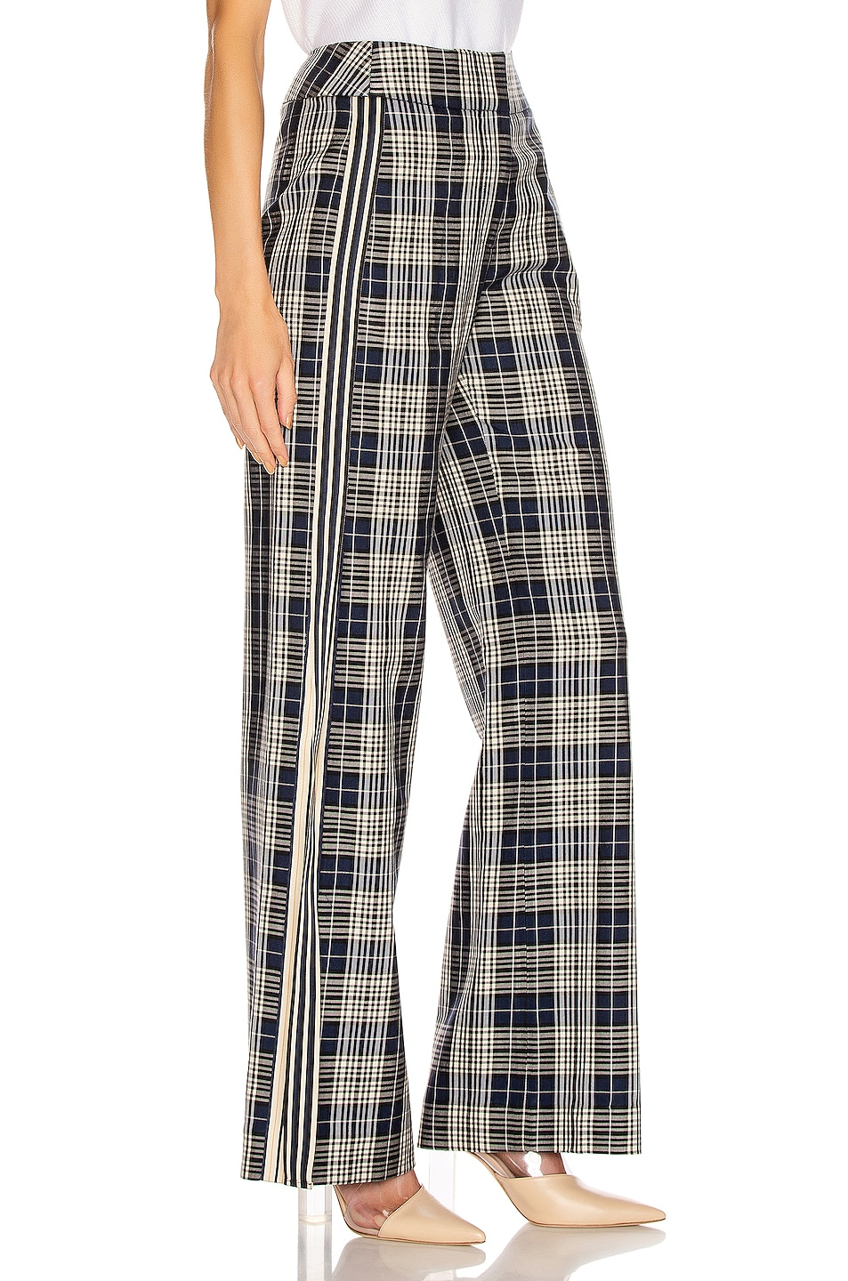Image 2 of Monse Racing Stripe Vintage Pant in Navy Plaid