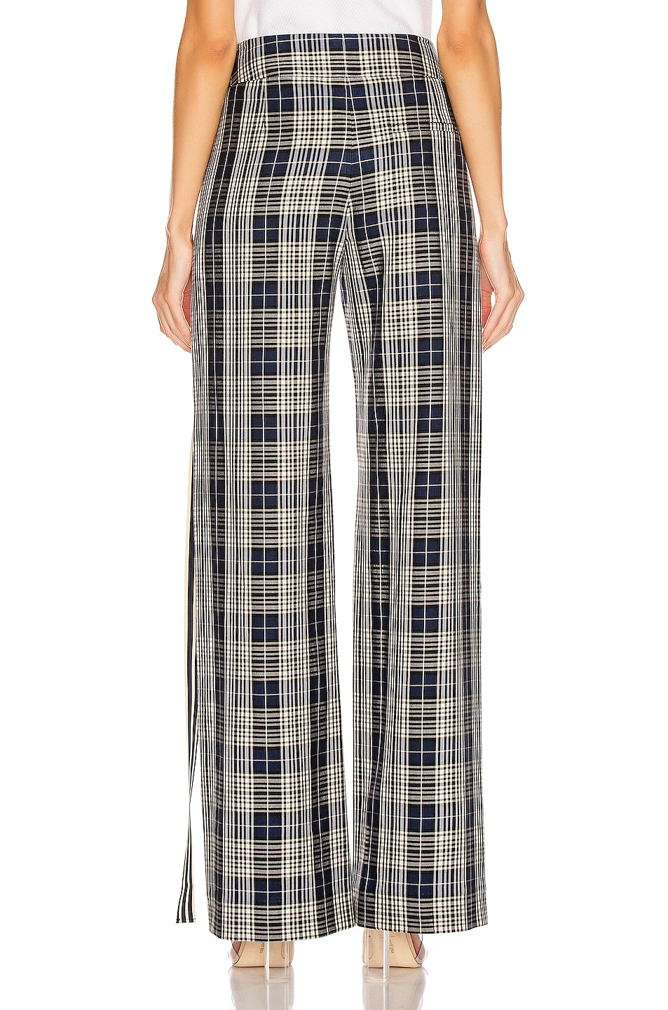 Image 3 of Monse Racing Stripe Vintage Pant in Navy Plaid