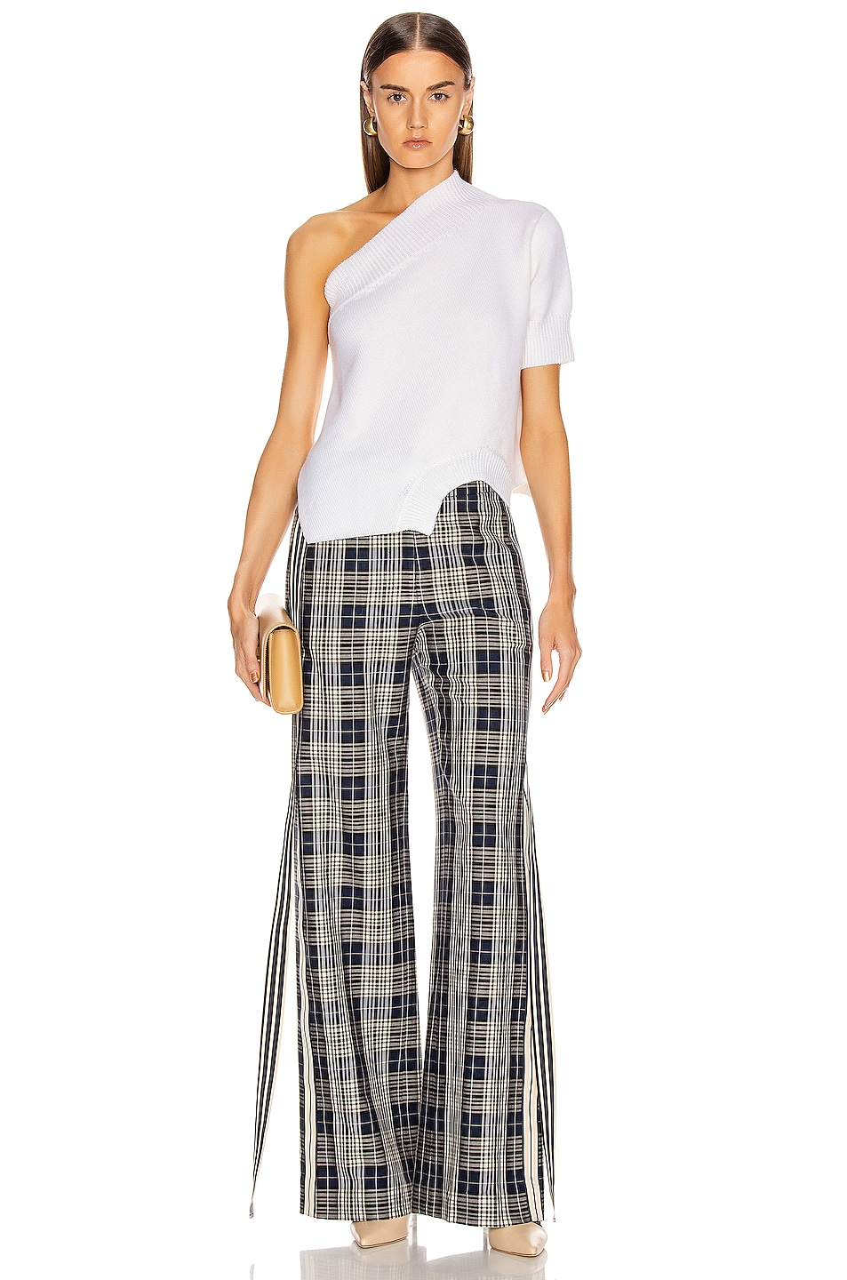 Image 4 of Monse Racing Stripe Vintage Pant in Navy Plaid