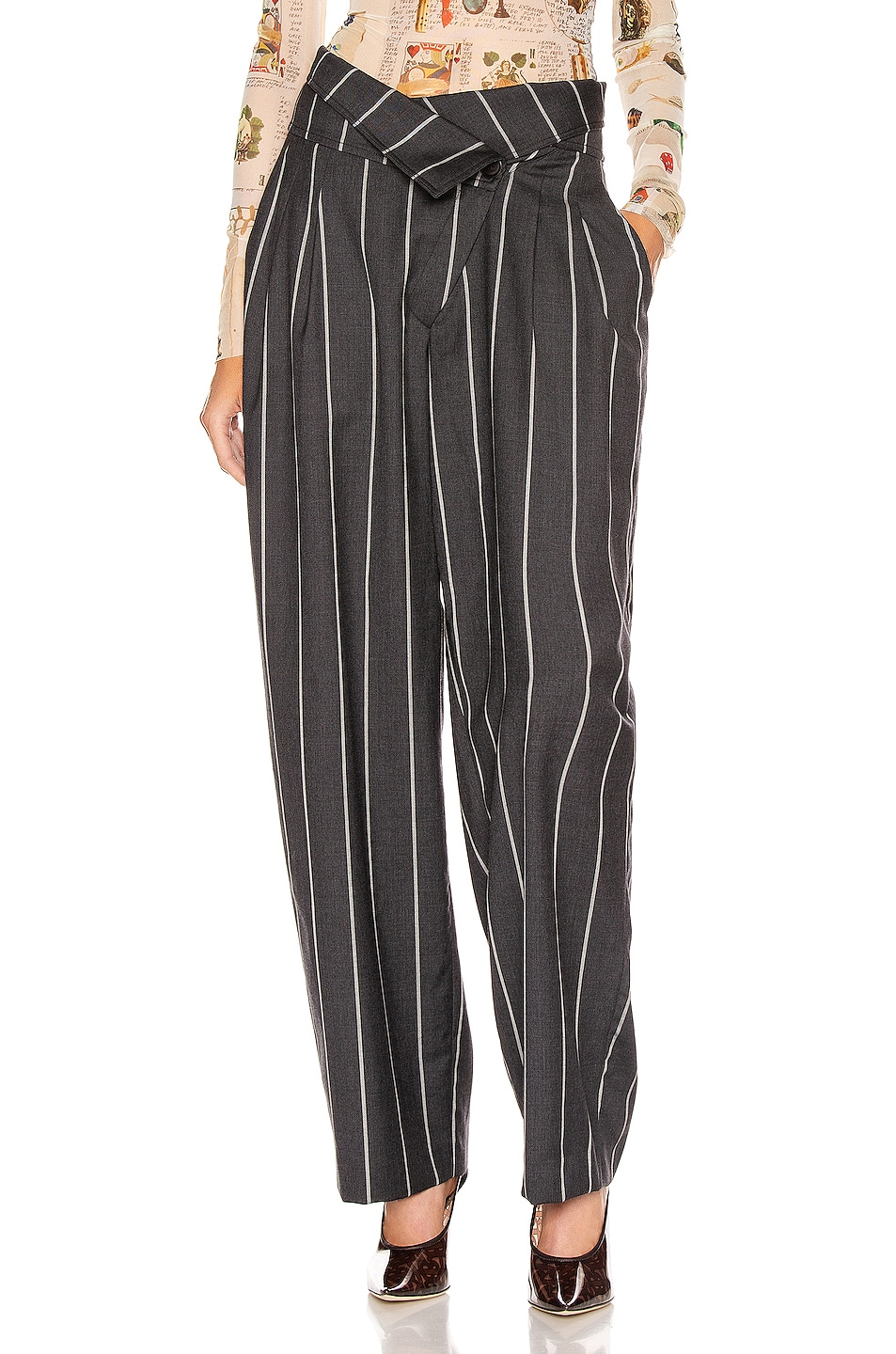 Image 1 of Monse Pinstripe Foldover Pant in Charcoal & Ivory