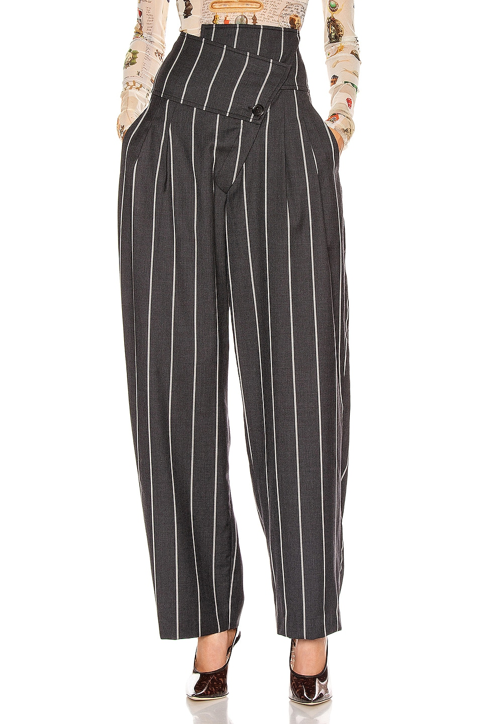 Image 2 of Monse Pinstripe Foldover Pant in Charcoal & Ivory