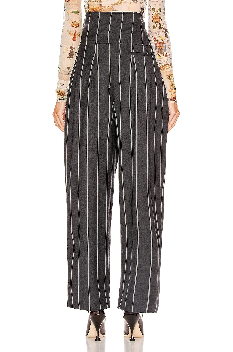 Image 4 of Monse Pinstripe Foldover Pant in Charcoal & Ivory