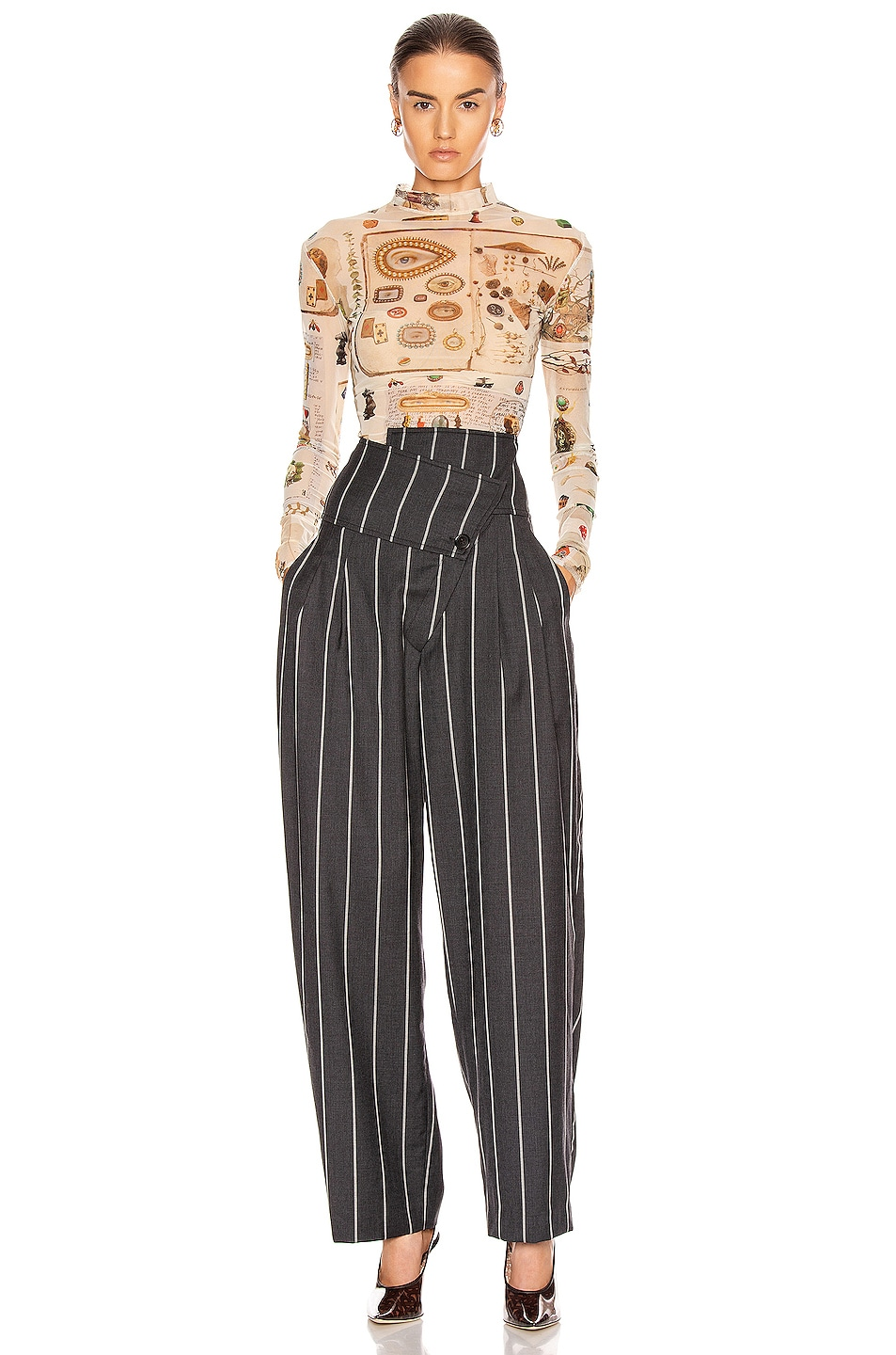 Image 5 of Monse Pinstripe Foldover Pant in Charcoal & Ivory