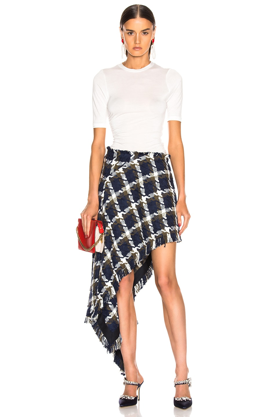 Image 5 of Monse Tweed Asymmetrical Skirt in Navy, Olive & Ivory