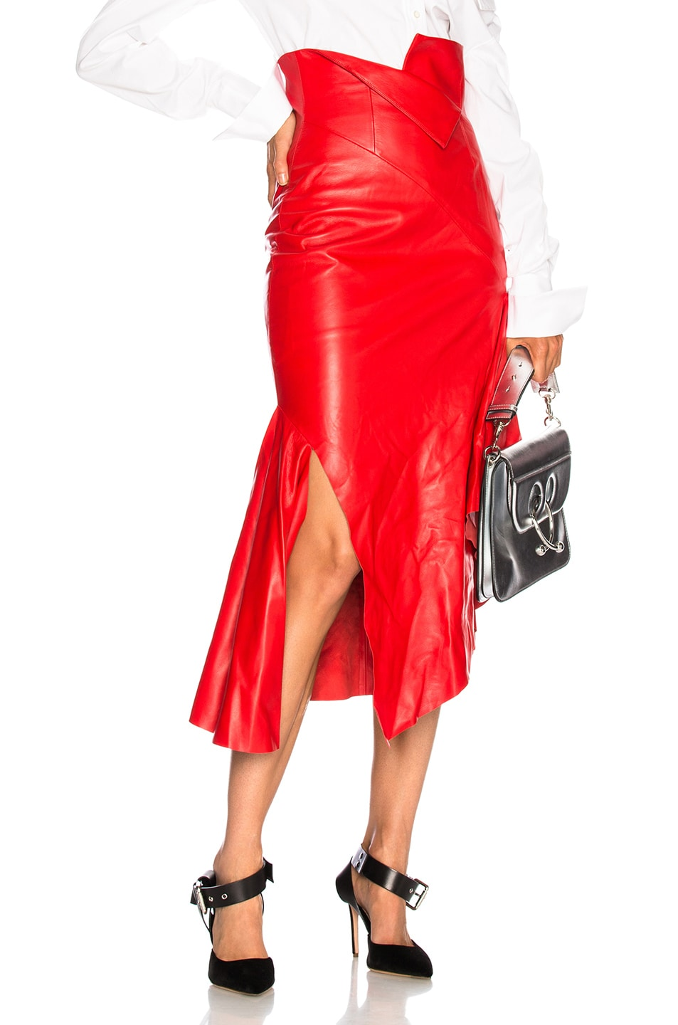 Image 1 of Monse for FWRD Leather Skirt in Red