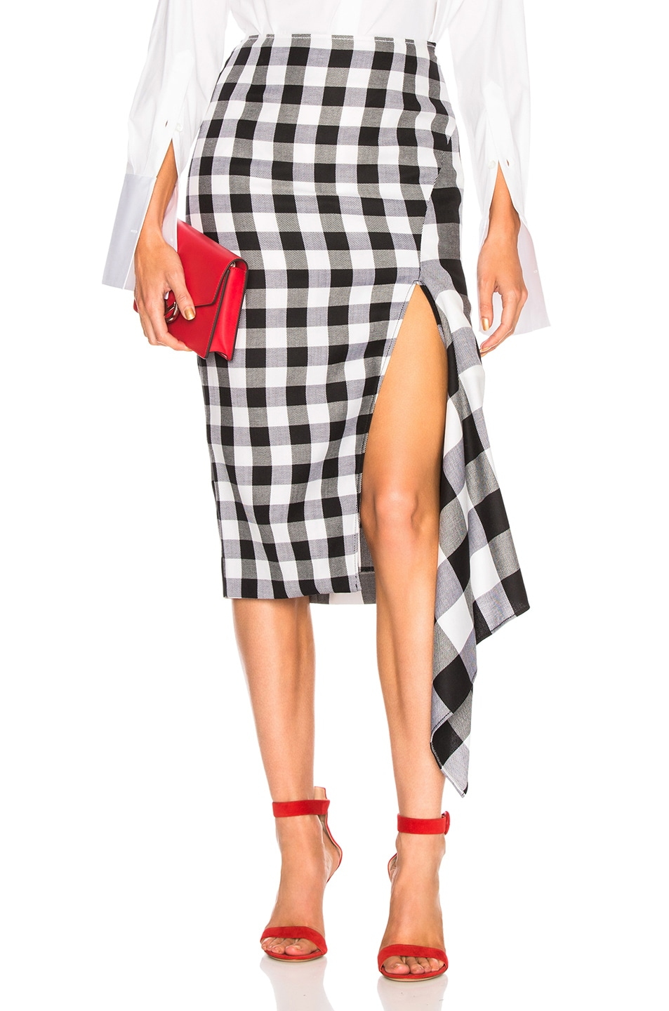 Image 1 of Monse Split Gingham Slash Skirt in Black & White