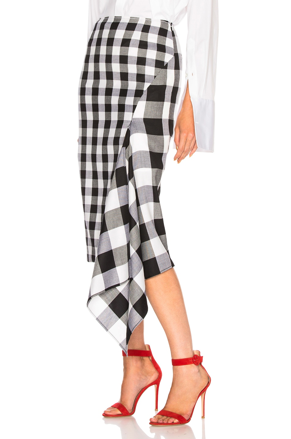 Image 3 of Monse Split Gingham Slash Skirt in Black & White