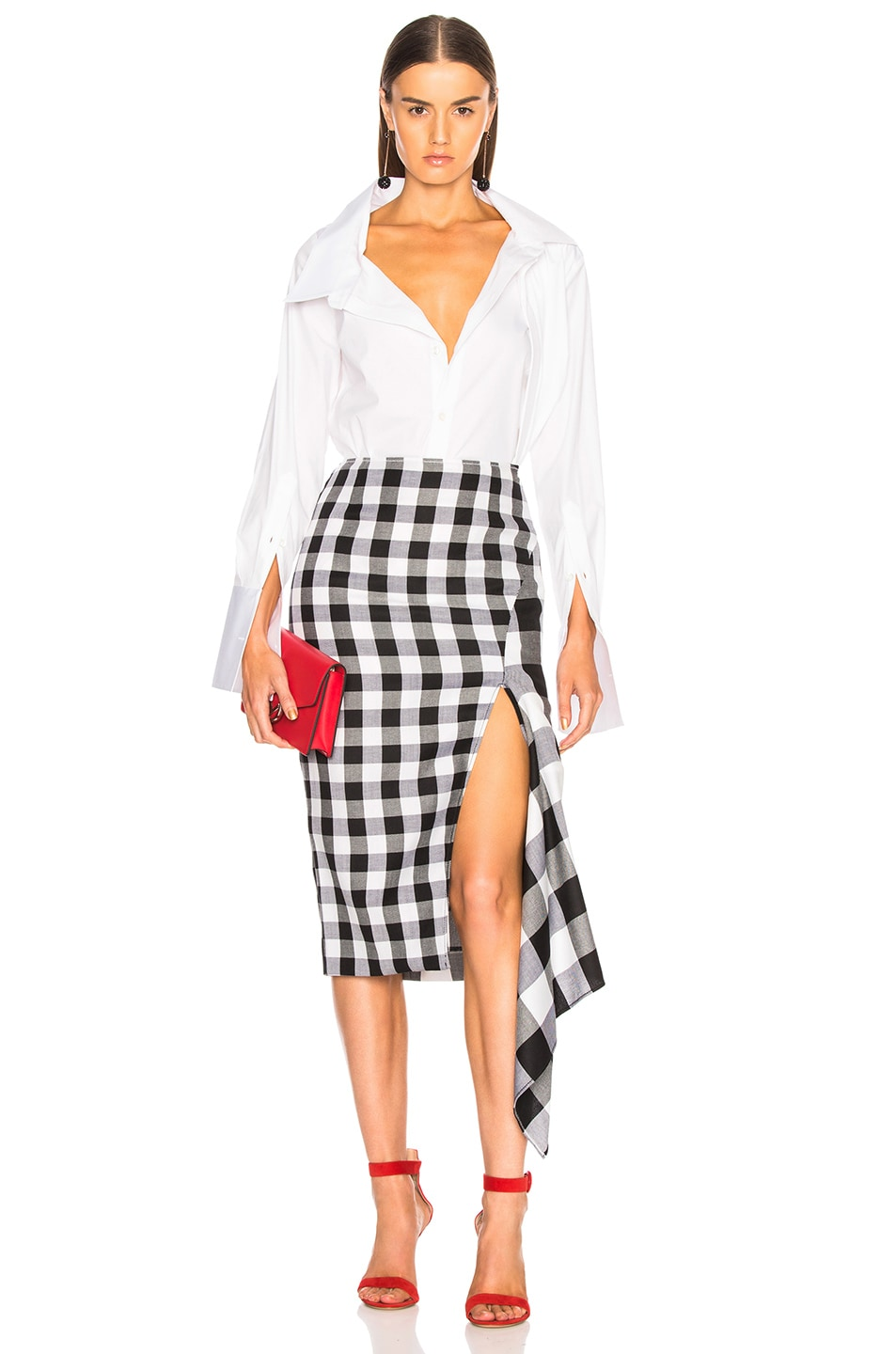 Image 5 of Monse Split Gingham Slash Skirt in Black & White