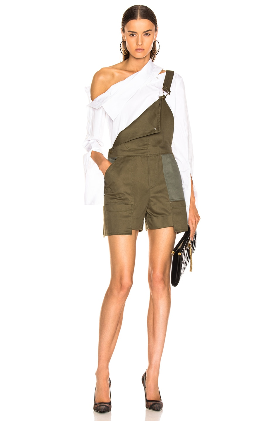 Image 1 of Monse Short Overalls in Olive