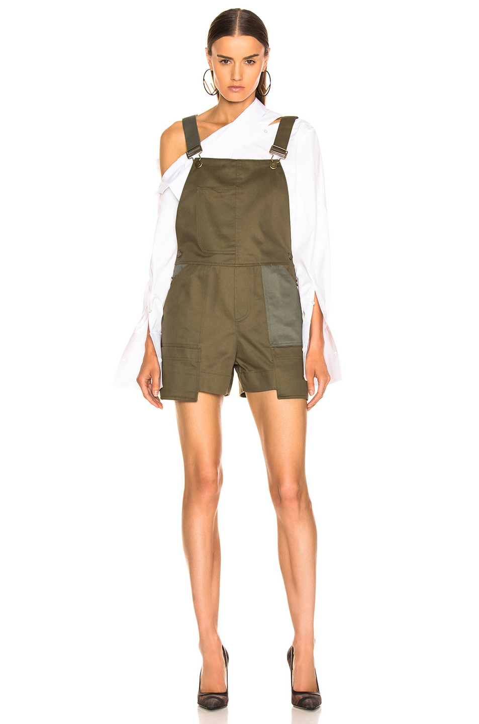 Image 2 of Monse Short Overalls in Olive