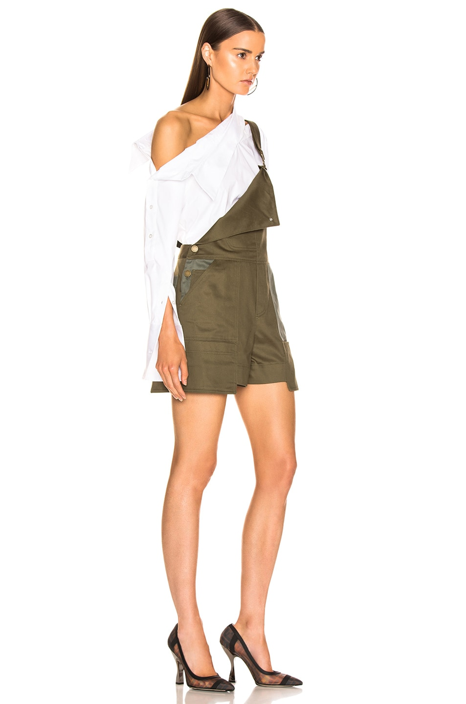 Image 3 of Monse Short Overalls in Olive