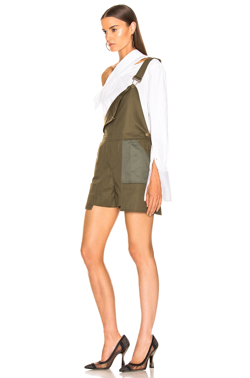 Image 4 of Monse Short Overalls in Olive