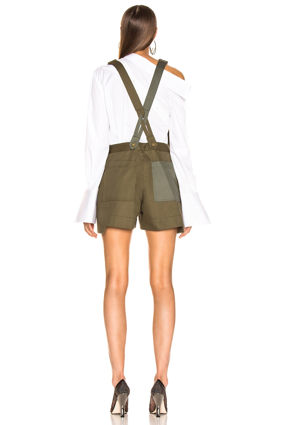 Image 5 of Monse Short Overalls in Olive