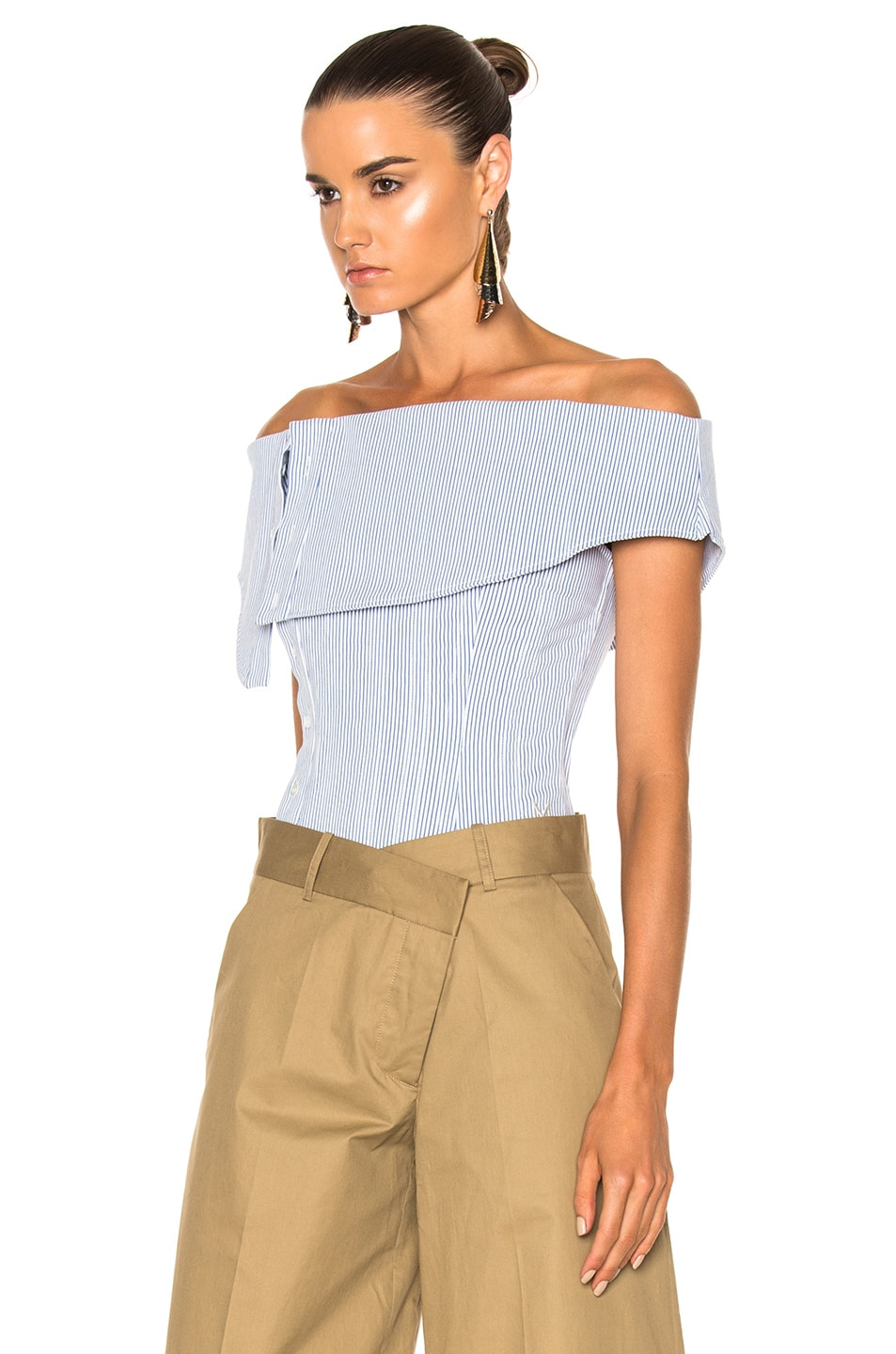 Image 2 of Monse Striped Cotton Dobby Corset Top in Blue & White