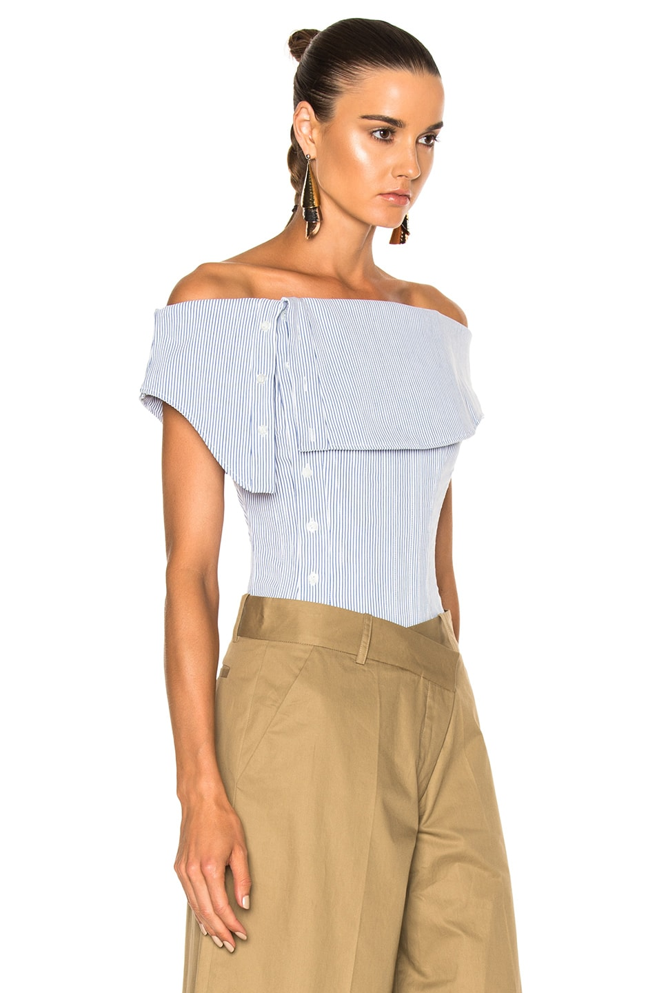 Image 3 of Monse Striped Cotton Dobby Corset Top in Blue & White