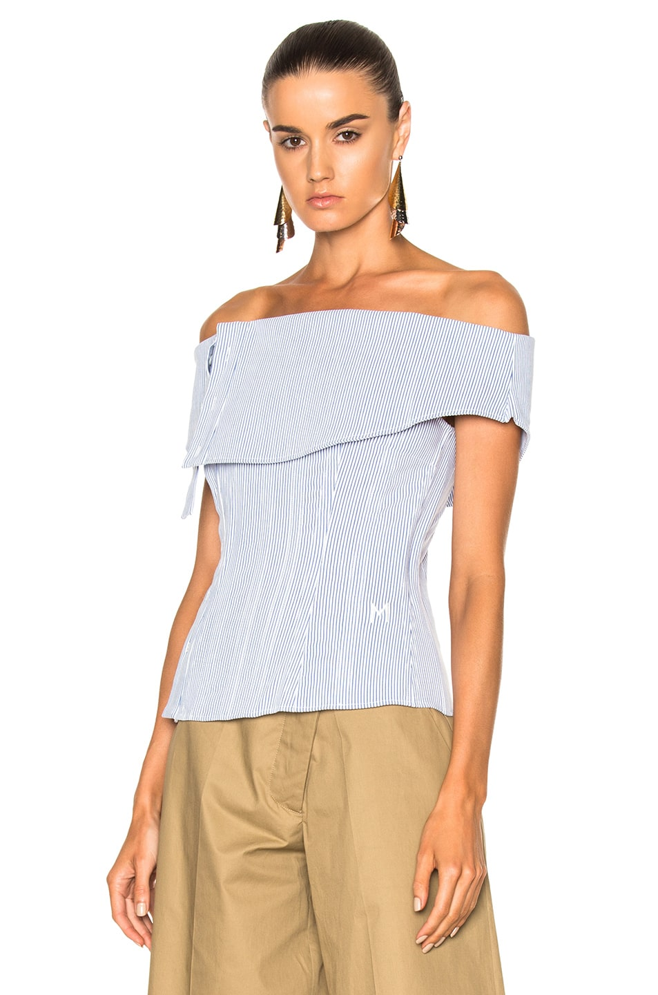 Image 4 of Monse Striped Cotton Dobby Corset Top in Blue & White