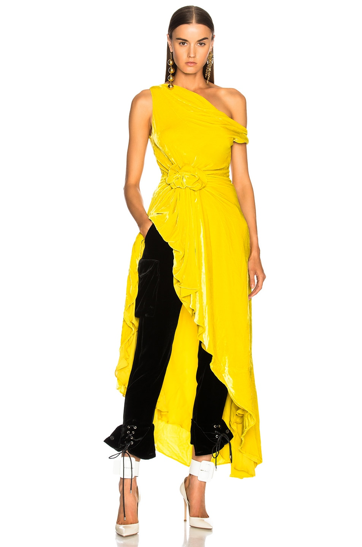 Image 2 of Monse Velvet Hi Lo Top in Yellow