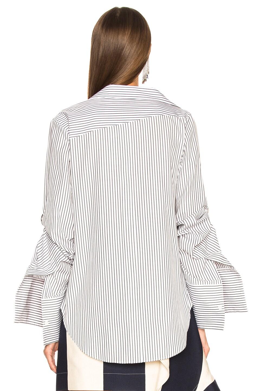 Image 4 of Monse Scrunche Sleeve Grommet Shirt in Blue & White