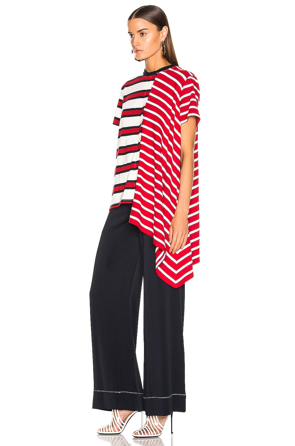 Image 3 of Monse Asymmetrical Rugby Tee in Red, Ivory & Navy