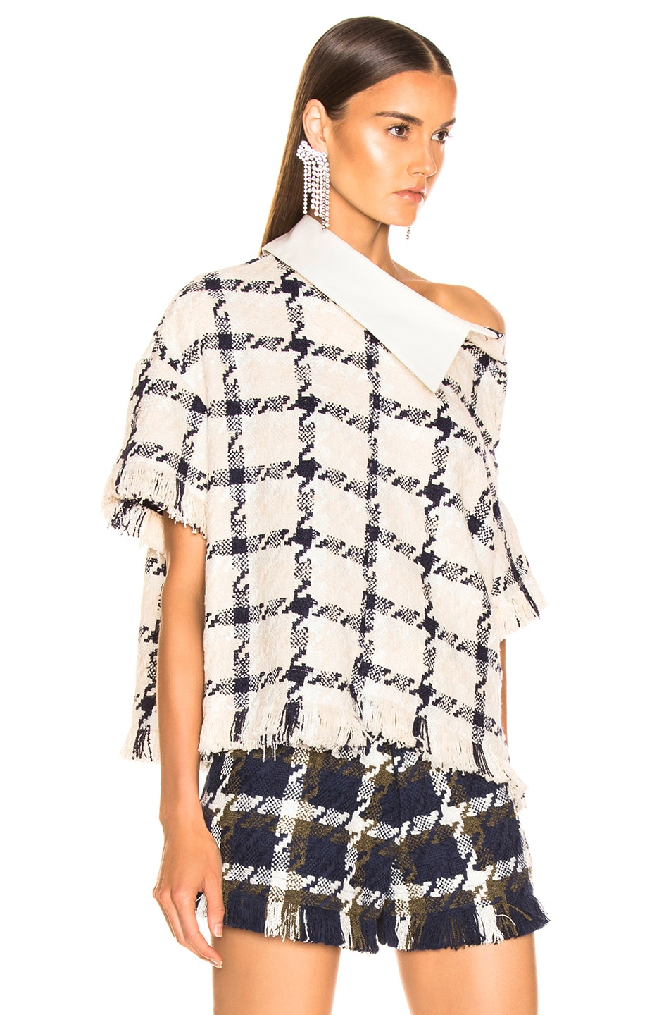 Image 2 of Monse Shifted Tweed Rugby Top in Ivory & Navy