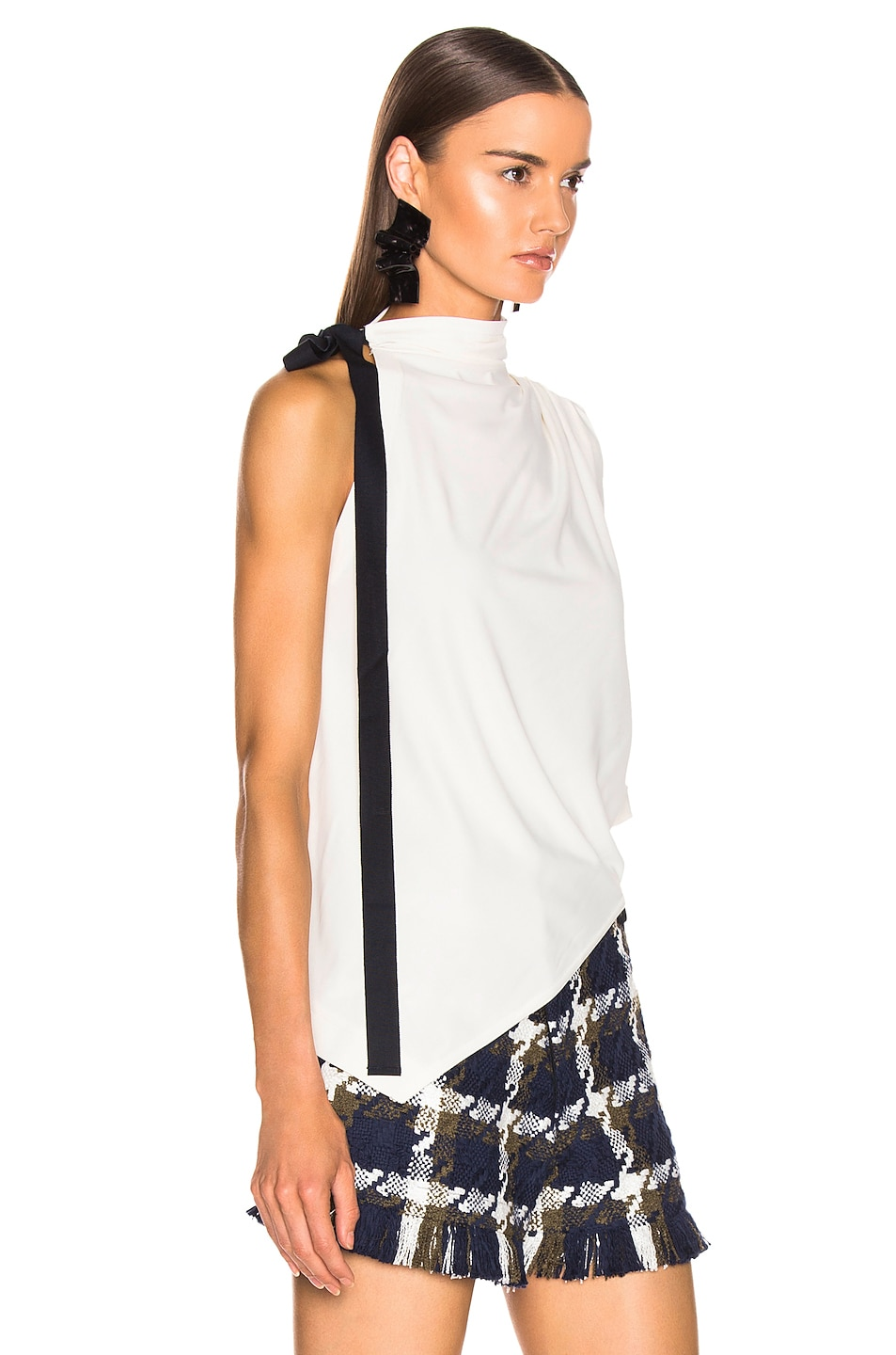 Image 2 of Monse Asymmetrical Halter Tee in Ivory
