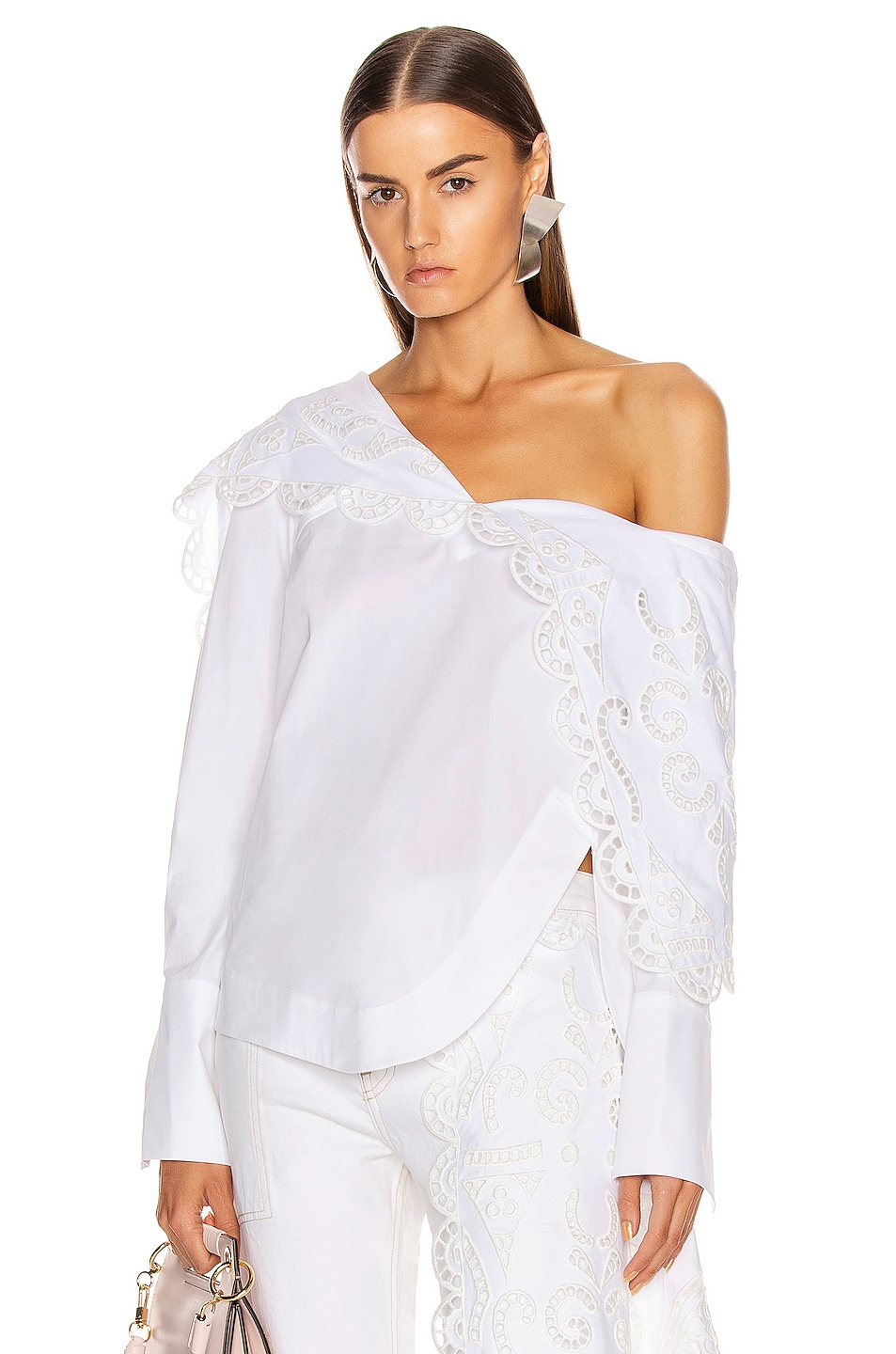 Image 1 of Monse Louise Lace Folded Collar Shirt in White