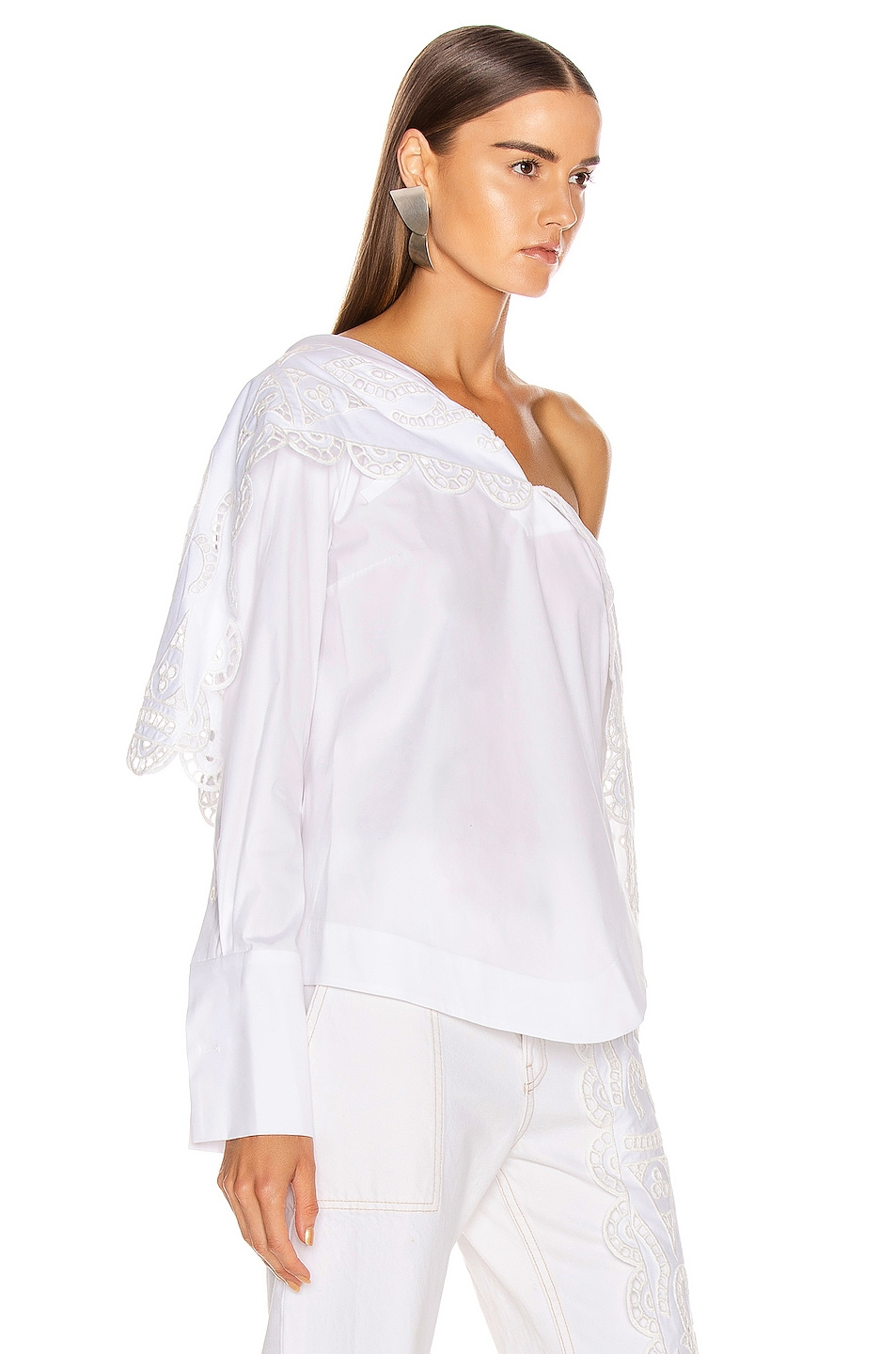 Image 2 of Monse Louise Lace Folded Collar Shirt in White