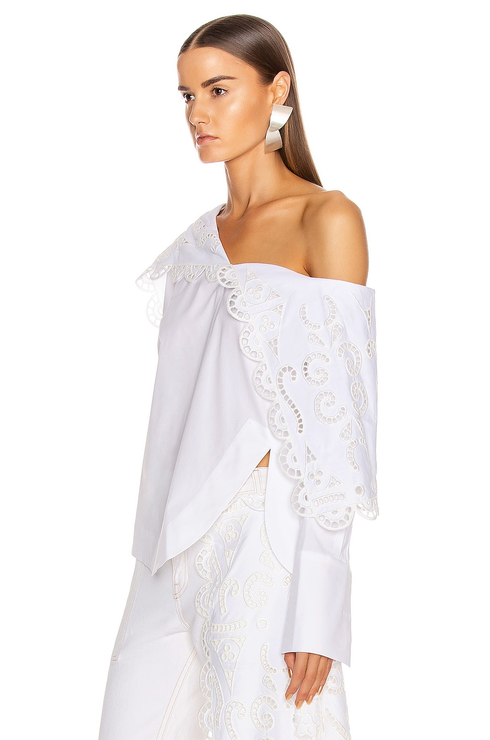 Image 3 of Monse Louise Lace Folded Collar Shirt in White
