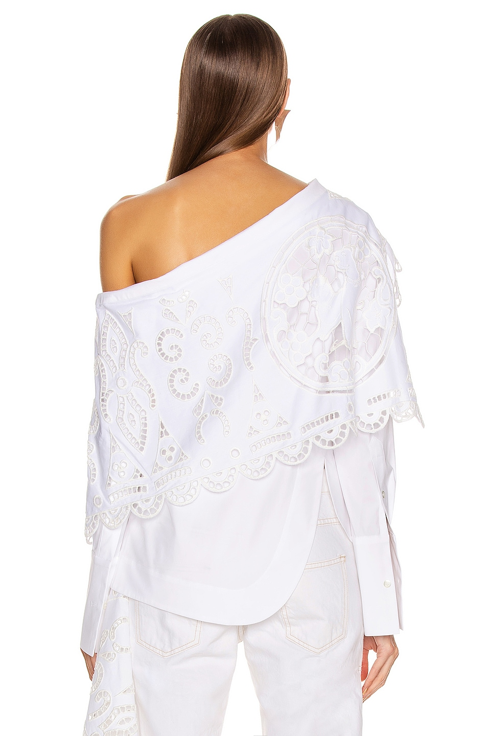 Image 4 of Monse Louise Lace Folded Collar Shirt in White