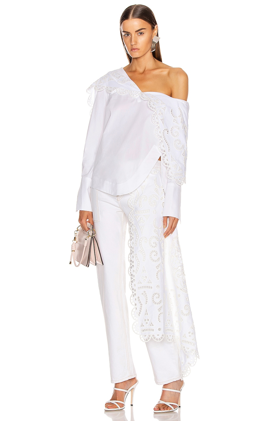Image 5 of Monse Louise Lace Folded Collar Shirt in White