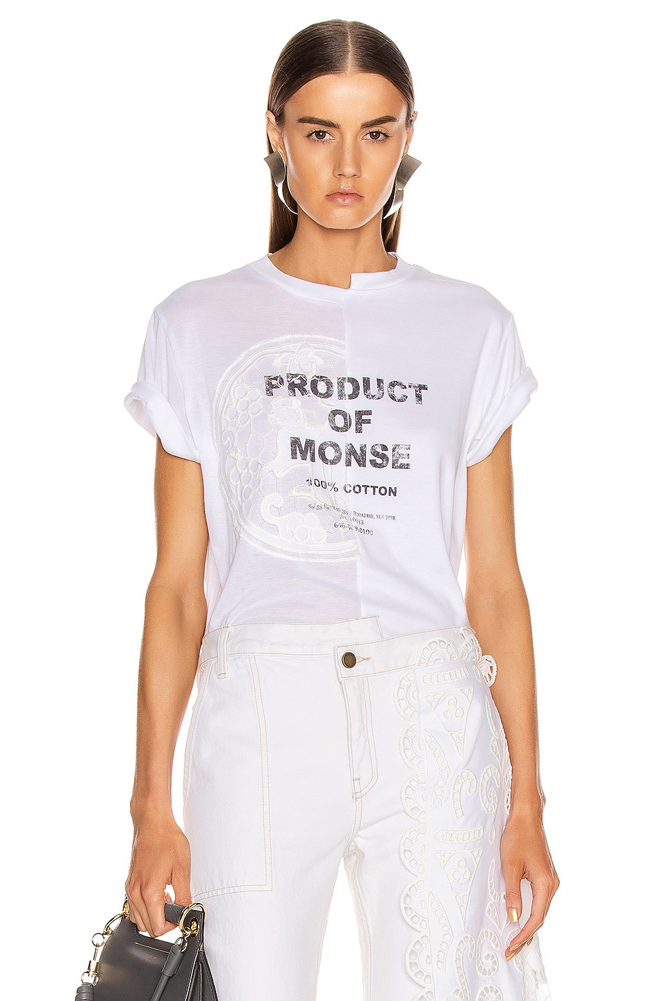 Image 1 of Monse Split Louise Lace Printed Tee in White
