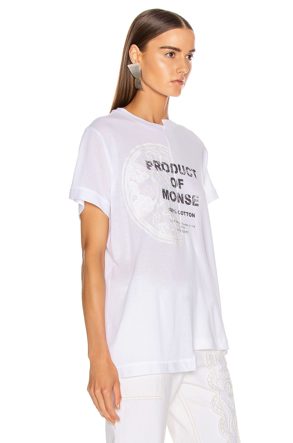 Image 3 of Monse Split Louise Lace Printed Tee in White