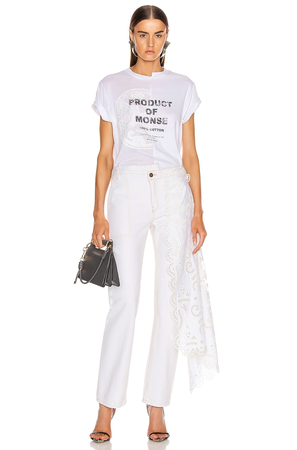 Image 6 of Monse Split Louise Lace Printed Tee in White