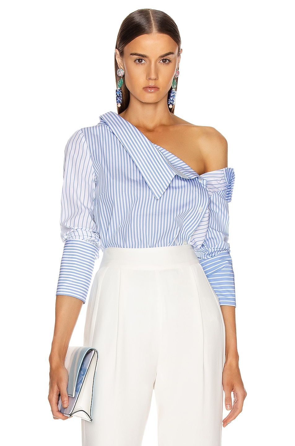 Image 1 of Monse Asymmetrical Flap Collar Shirt in Sky Blue & White