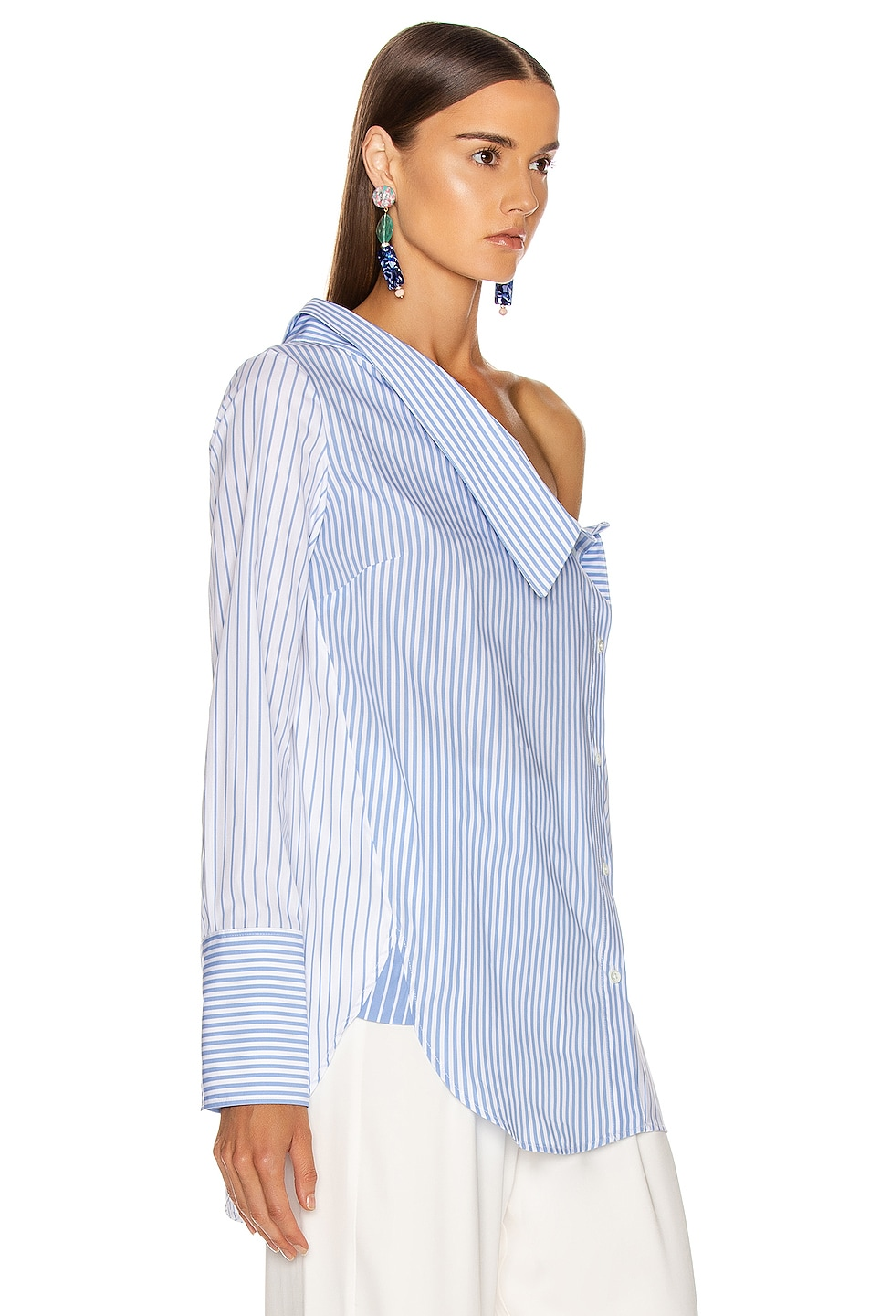 Image 2 of Monse Asymmetrical Flap Collar Shirt in Sky Blue & White