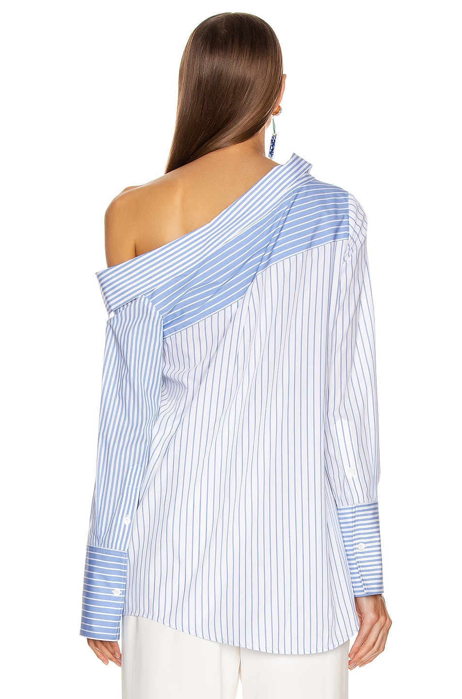Image 4 of Monse Asymmetrical Flap Collar Shirt in Sky Blue & White