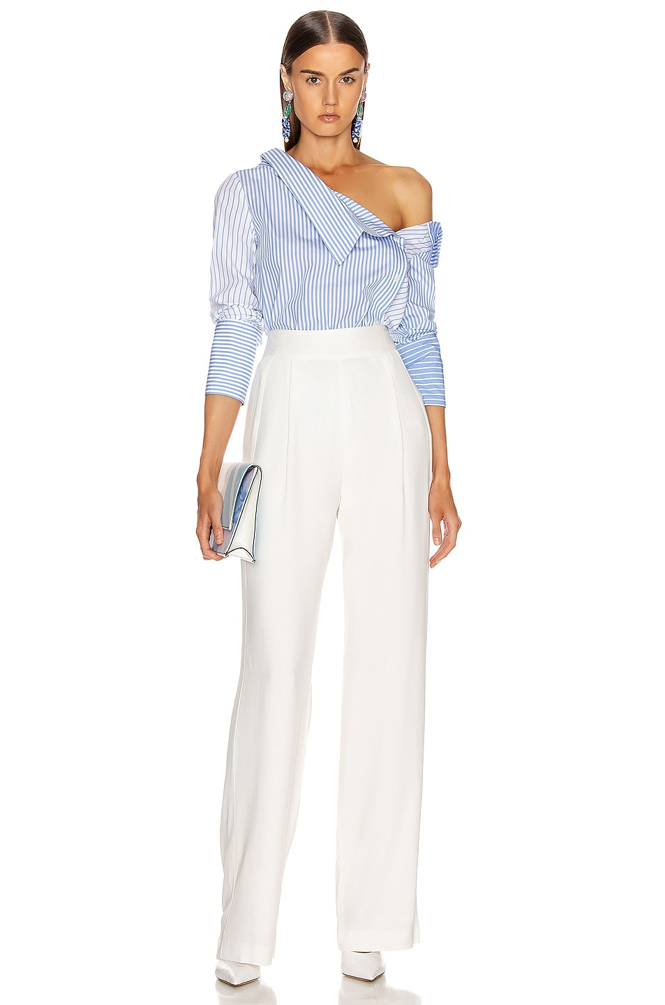 Image 5 of Monse Asymmetrical Flap Collar Shirt in Sky Blue & White