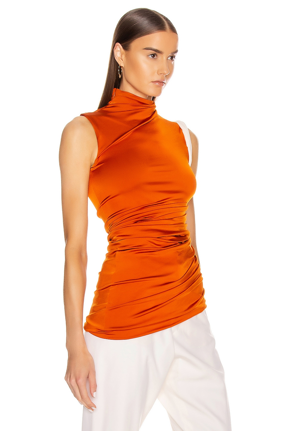 Image 2 of Monse Sleeveless Double Layer Twisted Top in Rust