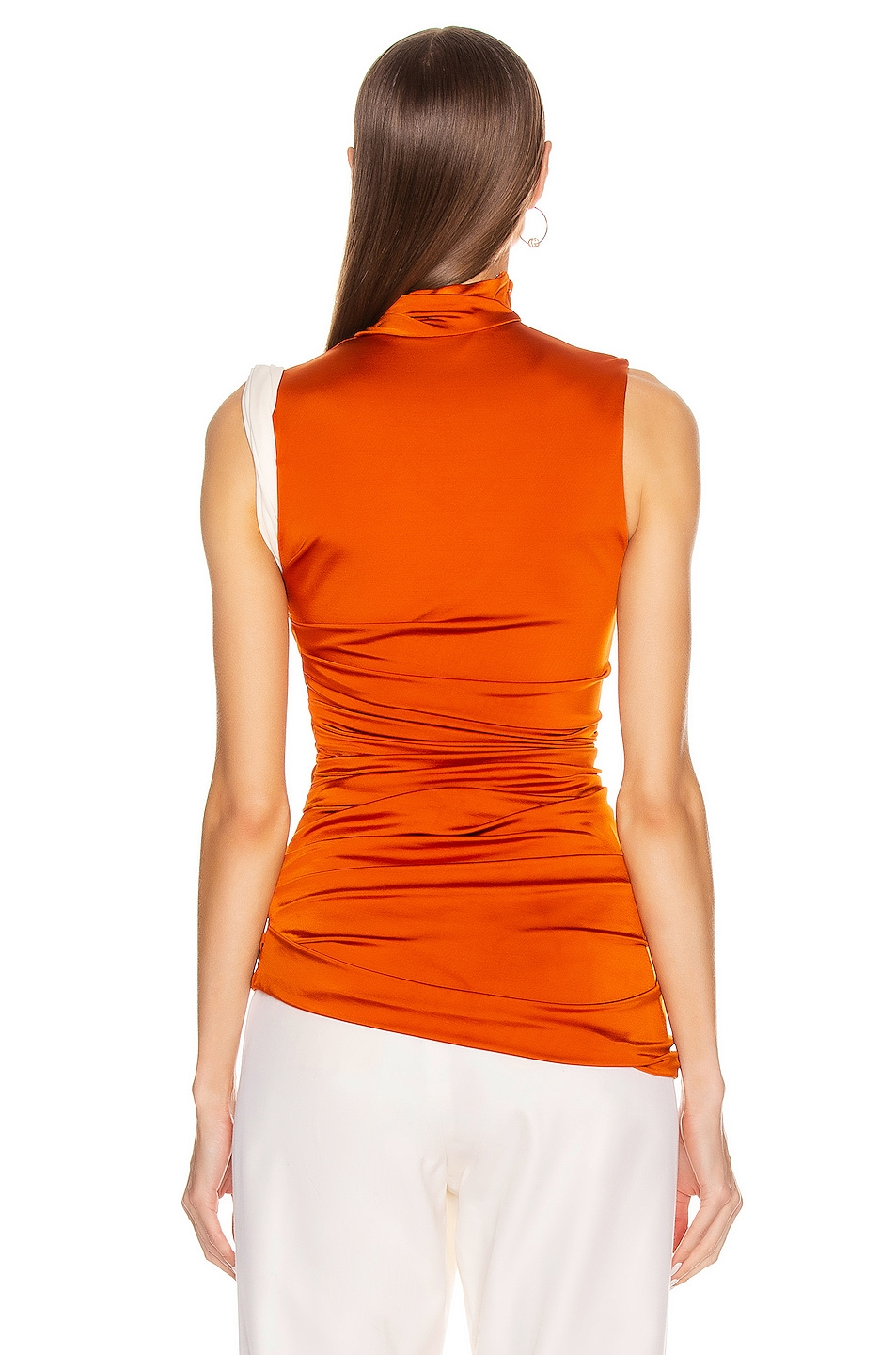 Image 4 of Monse Sleeveless Double Layer Twisted Top in Rust