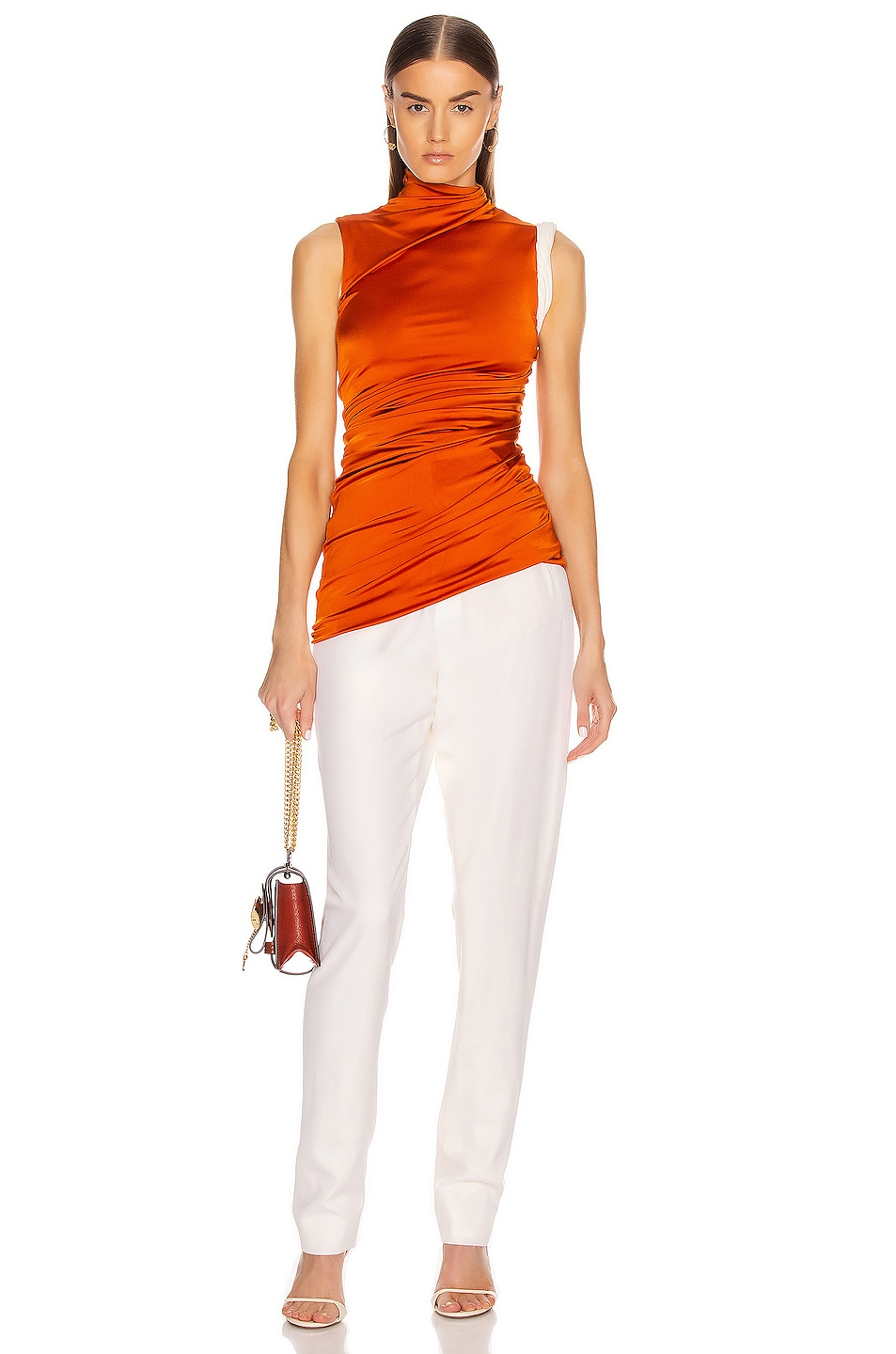 Image 5 of Monse Sleeveless Double Layer Twisted Top in Rust