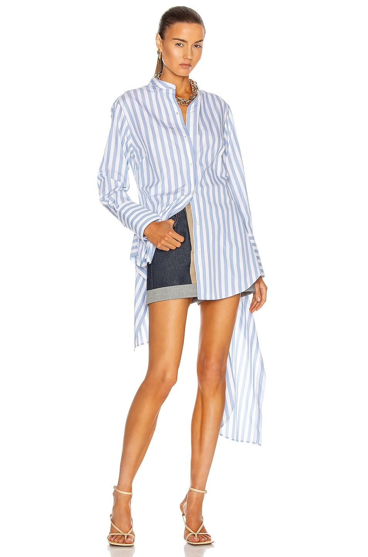 Image 1 of Monse Striped Drawstring Shirt in Boardwalk Stripe